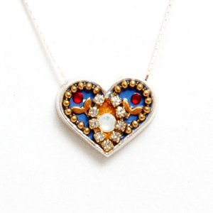 Flower Design Silver Heart Necklace - Ester Shahaf