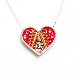Pink and Red Silver Heart Necklace - Ester Shahaf