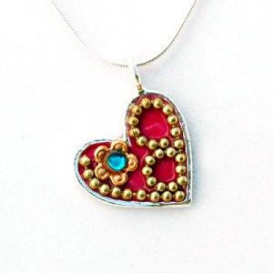 Ester Shahaf Red Heart Necklace in Silver