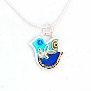 Sterling Silver Blue Dove Necklace - Ester Shahaf