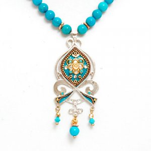 Turquoise Bead Necklace - Ester Shahaf