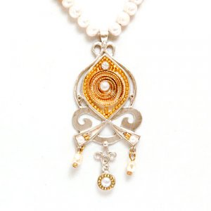 Copper Tones Pearl Necklace - Ester Shahaf