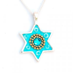 Silver and Turquoise Star of David Necklace - Ester Shahaf