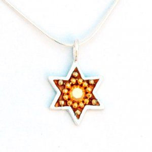 Shahaf Star of David Necklace in Rust and Gold Shades