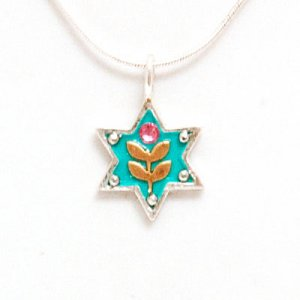 Ester Shahaf Star of David Necklace with Flower