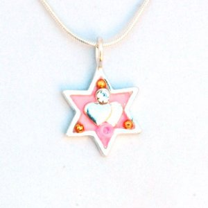 Pink Star of David Necklace with Heart - Ester Shahaf