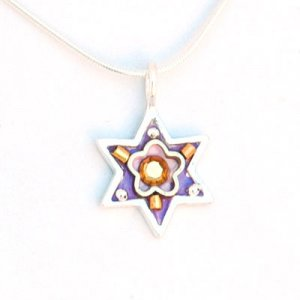 Purple Star of David Necklace with Flower - Shahaf