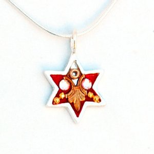 Red Star of David Necklace by Ester Shahaf