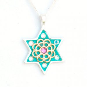 Silver Flower Star of David necklace by Ester Shahaf