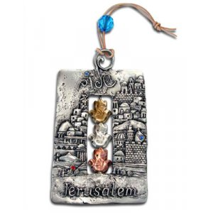 "Jerusalem Wall Hanging ""Shalom"" Blessing with Hamsa"