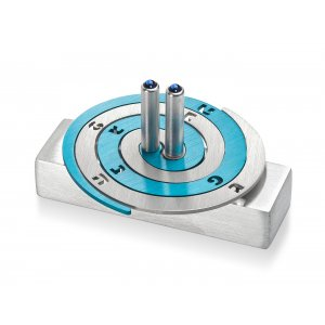 Double Spiral Hanukkah Dreidel Brushed Aluminum, Turquoise and Silver - Adi Sidler