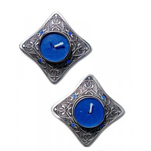 Small Art Nouveau Travel Candlestics with blue stone