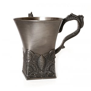 Wash Cup in Pewter with Filigree Design