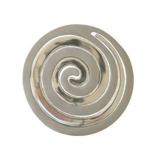 Two-in-One Silver Aluminum Trivet, Swirls by Yair Emanuel