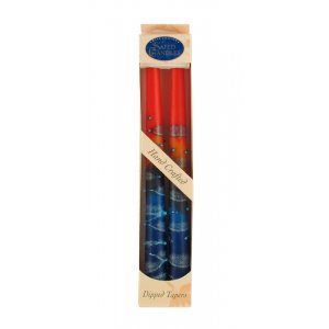 Blue and Red Safed Taper Candles