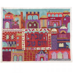 Hand Embroidered Red Challah Cover, Jerusalem Views - Yair Emanuel