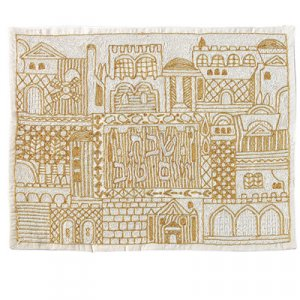 Hand Embroidered Challah Cover of Jerusalem Views, Gold - Yair Emanuel