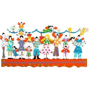 Hand Painted Wall Sculpture with Bless this Family in English, Orange - Tzuki Art