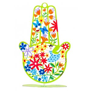 Spring Flowers Hamsa Hand in Green by Tzuki
