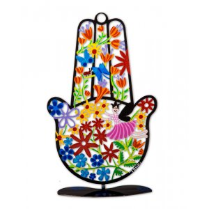 Flower Hamsa by Tzuki - with Black Stand