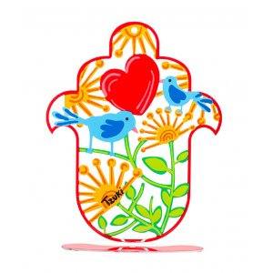 Hamsa with Red Heart on Red Stand by Tzuki