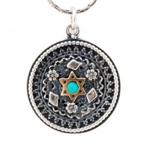 Yemenite style Star of David Pendant with Turquoise by Golan Jewelry