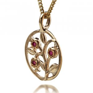 Gold Pomegranate Pendant for Fertility and Bounty by Ha'Ari