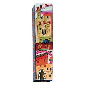 Small Hand Painted Wood Mezuzah Case, Jerusalem on Red - Yair Emanuel