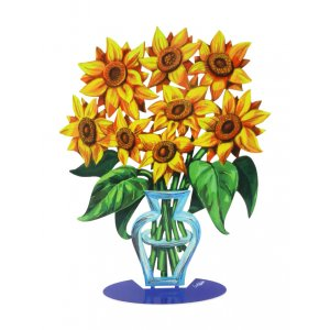 Free Standing Double Sided Flower Vase Sculpture - Sunflower by David Gerstein