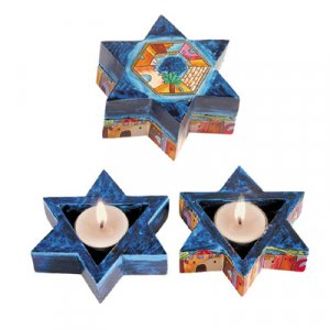 Star of David Travelling Candlesticks - Jerusalem by Yair Emanuel
