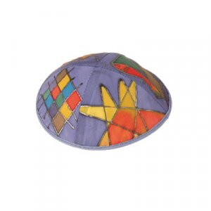 Purple Hand Painted Silk Kippah, Twelve Tribes Images - Yair Emanuel