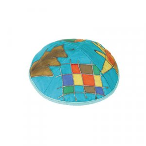 Turquoise Hand Painted Silk Kippah, Twelve Tribes Images - Yair Emanuel