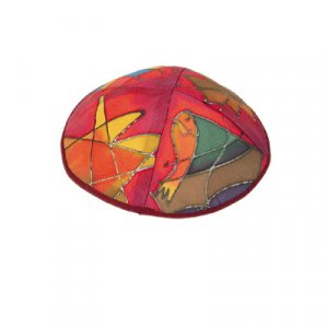 Hand Painted Red Silk Kippah, Judaica motifs - by Yair Emanuel