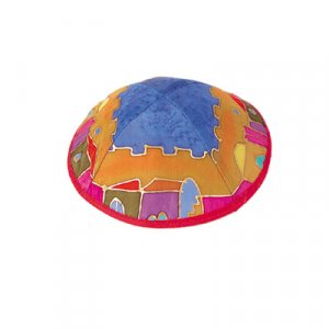 Silk Kippah Hand Painted with Jerusalem Images, Colorful - Yair Emanuel