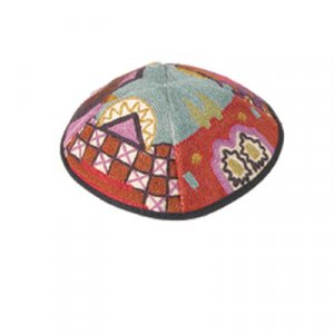 Hand Embroidered Red Cotton Kippah, Jerusalem Images by Yair Emanuel