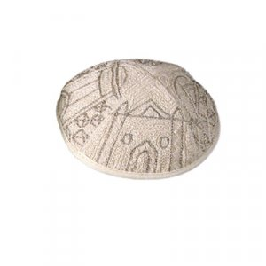 Hand Embroidered Silver Cotton Kippah, Jerusalem Images by Yair Emanuel