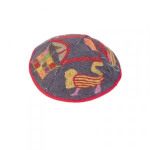 Hand Embroidered Grey & Red Cotton Kippah, Judaic Motifs by Yair Emanuel
