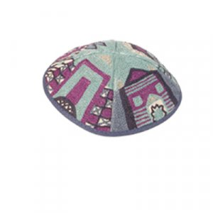 Hand Embroidered Blue and Purple Cotton Kippah, Jerusalem Images - Yair Emanuel
