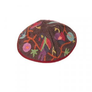 Hand Embroidered Burgundy Cotton Kippah with Birds and Flowers - Yair Emanuel
