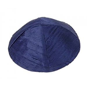 Basic Raw Silk Kippah, Dark Blue - Yair Emanuel