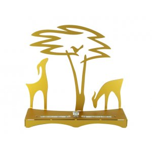 Hanukkah Menorah with Acacia Tree, Deer and Bird, Gold - Shraga Landesman