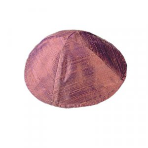 Basic Raw Silk Kippah, Burgundy - Yair Emanuel