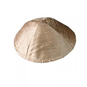 Basic Raw Silk Kippah, Gold Tan - Yair Emanuel