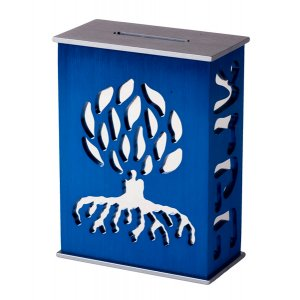 Blue Tzedakah Box by Agayof - Tree of Life Design