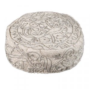 Hand Embroidered Silver Bucharian Hat Kippah – Birds by Yair Emanuel