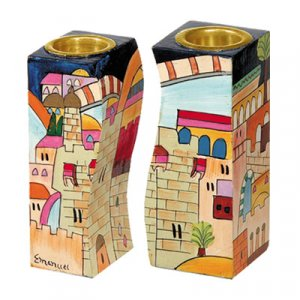 Hand-Painted Wood Fitted Candlesticks, Jerusalem Views - Yair Emanuel