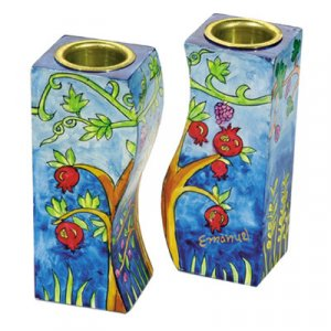 Hand-Painted Wood Fitted Candlesticks, Pomegranates - Yair Emanuel