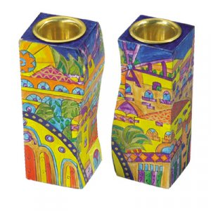 Hand-Painted Wood Fitted Candlesticks - Golden Jerusalem by Yair Emanuel