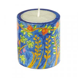 Yahrzeit Memorial Hand Painted Wood Candle Holder, Seven Species - Yair Emanuel