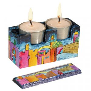 Hand Painted Travel Shabbat Candlesticks in Wood Box, Jerusalem - Yair Emanuel